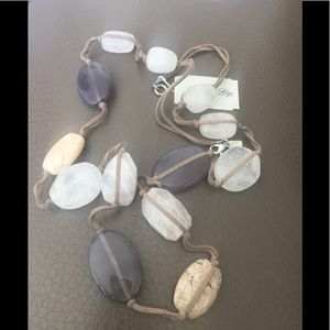 New JJill Crystals and Stone Organic Necklace